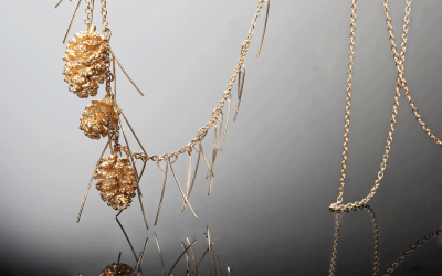 Set of three  Swedish mini Pine cones plated with 24K Gold on branch necklace.