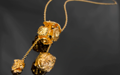 Set of three real cypress pine-balls plated with 24K Gold on swing necklace.