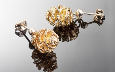 Pair of Swedish mini Pine cones plated with 24K Gold.