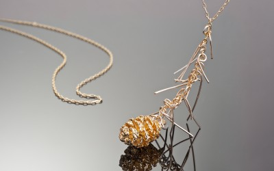 Swedish mini Pine cone plated with 24K Gold on branch necklace